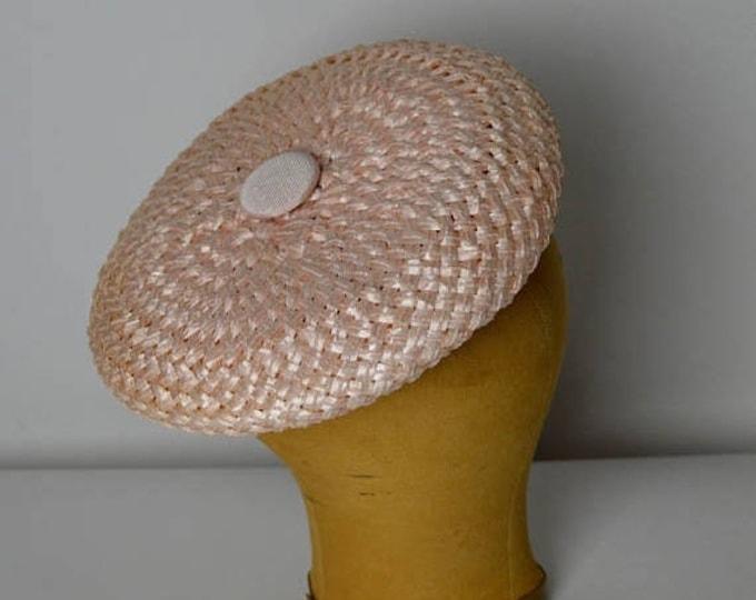 sale Vintage Beret, 60s Hat, Pink Beret, Pink Hat, Blush Hat, Straw Hat, Designer Hat, Mr. John Hat, Vintage Tam, Pink Tam
