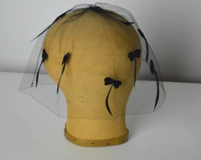 sale Vintage Veils, Black Veil, Bird Cage, Millinery Veil, 50s Veil, 1950s Veil,Millinery Hat, Hat Making Supply, Black Netting, Feathered V