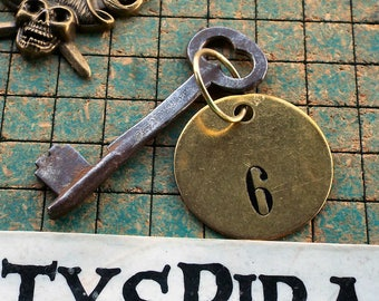 vintage 1880  Nashua Skeleton Key, on ring with brass number 6 tag, hotel key, , rustic, steampunk, pirate, man cave