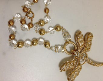 """Handmade Artisan 1 of Kind Victorian Gold Dragonfly Pendant Necklace 24"""""""