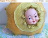 20% SALE Plush Art Doll SunBeam Dolly Handmade Rubber Face Doll #6 Creepy Cute Home Decor