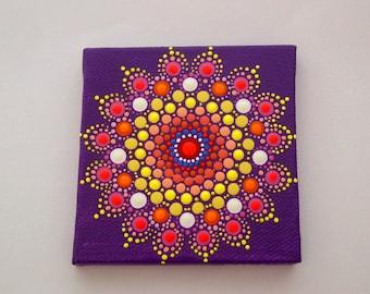 OOAK 3D mini mandala canvas wall art-3x3 dot art-pink red purple-pointillism-aboriginal-Zen-hippie boho-yoga meditation-tropical summer-neon