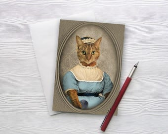 Cat Art Card Stationery Jane Austen Gifts Cat Print Pet Portrait Literature Art Animal Photography Gift for Book Lovers - Lady Jane Meowsten