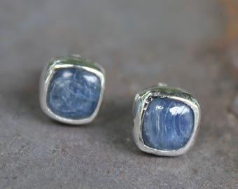 Blue Brazilian Kyanite Ear Studs - Kyanite Studs - Natural Gemstone Studs - Artisan Made Ear Studs - Kyanite Earrings