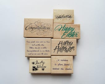 7 Rubber Stamps Set Phrases, Happy Halloween, Easter, Be my Valentine, Congatulations