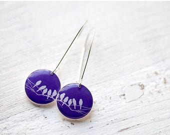 Purple earrings - Bird earrings - Bird on Branch  (E039)