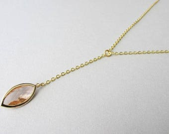 Champagne Glass Jewel Minimalist Y Necklace | Dainty Skinny Necklace | Modern Elegant Jewellery | Gold Layering Necklace | Gift for Her
