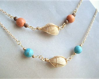 Seashell Necklace Wire Wrapped Shell Necklace Seashell Jewelry