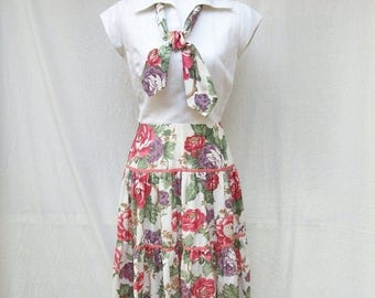 SALE 70s Tiered Skirt Dress size Small Medium Herman Marcus Floral Cotton Dress