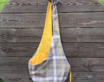 Gray plaid pet sling