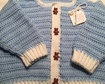Baby Sweater with Teddy Bear Buttons