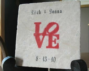 XMASINJULYSale Personalized Love Statue Trivet - Wedding Gift for the Newlywed Couple