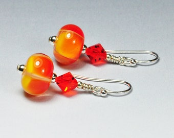 Handmade Lampwork Bead Orange and Yellow Earrings Autumn Flame Sterling Silver Jewelry SRA by HallockGlass