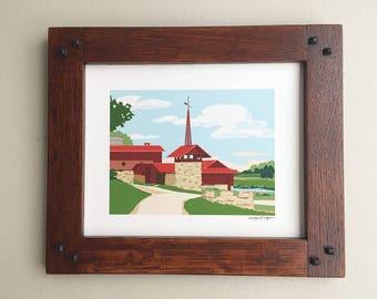 Midway Barn, Taliesin, Frank Lloyd Wright designed, 8x10 print