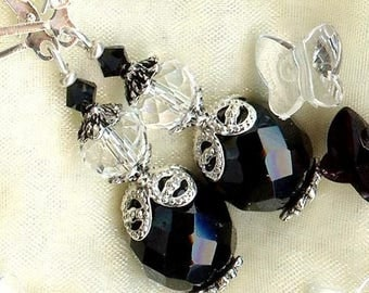 Earrings ♥ black-and-white ♥ No.. 2 Crystal Bohemian OR258