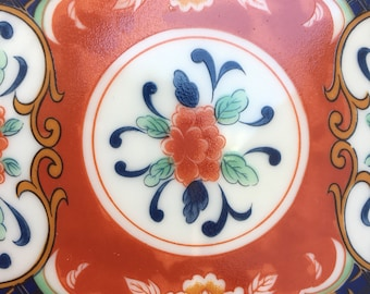 The Vintage Chinese Blue and Orange Floral Bedside Jewelry Holder or Ashtray