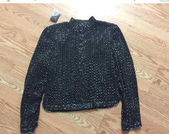 40% OFF The Vintage Lux Sequin and Beaded Black Cocktail Mandarin Collar Jacket