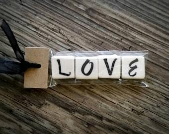 LOVE Tumbled Stone miniMagnet Word Strip