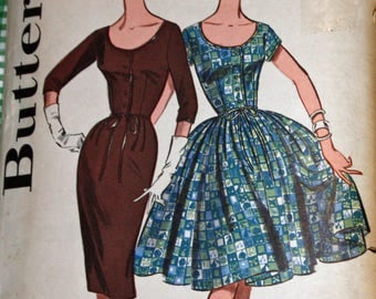 Vintage 1960s Sewing Pattern, Butterick 9566, Misses' Scoop Neck Dress With Full or Slim Skirt, Misses' Size 14