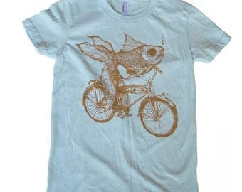 SUMMER SALE Goldfish on a Bicycle- Womens T Shirt, Ladies Tee, Tri Blend Tee, Handmade graphic tee, sizes s-xL