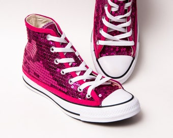 Sequin - Hot Fuchsia Pink Hi Top Canvas Sneaker Tennis Shoes