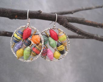Hoops Earrings with African Paper Beads - A Burst of Color - Recycled Paper Beads - Colorful-  African Beads - Silver Hoops - Upcycled