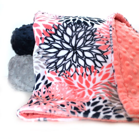 60 x 70 Blooms Minky Adult Blanket, Coral Navy Flower Blanket, Coral Throw, Twin Blanket, Personalized Gift Gift for Her Minky Throw Blanket