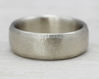8mm hand hewn mens wedding band gold or palladium recycled eco - Eco Friendly Wedding Rings
