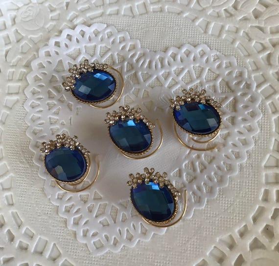 Ballroom Dancing Hair Swirls-Royal Blue-Ovals and Flowers Hair Coils-Bridesmaids Hair Spins-Hair Spirals Set of 5