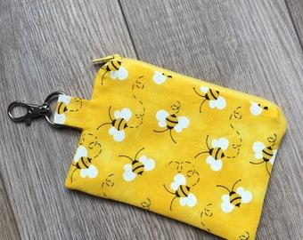 Bee Print Small Zipper Coin Purse