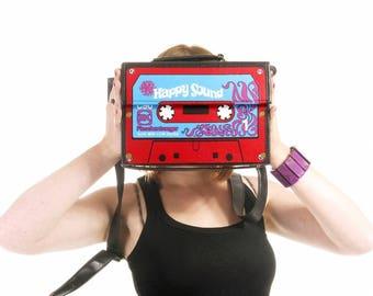 Bag tapes, bag original, bag shoulder strap tapes, bag k7, bag retro, vintage bag, psychedelic bag