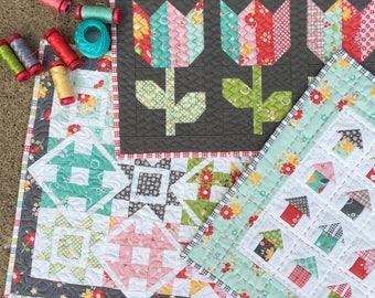 Flower Mill Mini Quilt PAPER Pattern Bundle