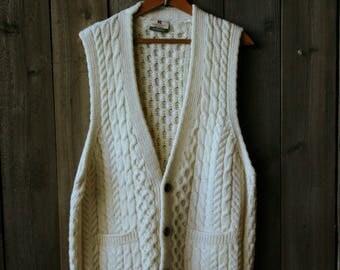 Vintage Ivory Mens Wool Cable Knit Vest Ireland Carraig donn