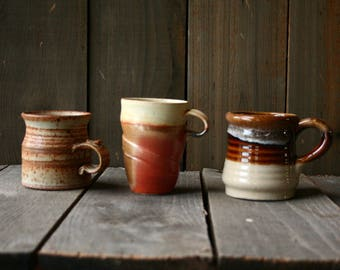 3 Hand Made Mugs In Natural Rust Colors 70s Vintage From Nowvintage on Etsy