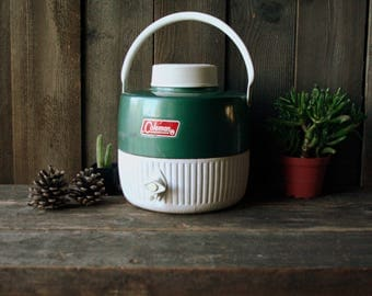 Vintage Coleman Water Cooler Jug Green and White Camping Glamping Sports Team Vintage Find From Nowvintage on Etsy