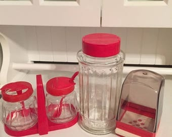 1950'S~10~PIECE~sET~lARGE~sUGAR~cONTAINER~7~pIECE~sUGAR~cADDY~tOOTHPICK~hOLDER~GLASS~pLASTIC~