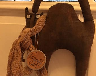 SCAREDY~CAT~HALLOWEEN~pRIMITIVE~rEADY~tO~hANG~lIGHTLY~sCENTED~dECORATION~gIFT~dOOR~gREETER~Wall~Decor~