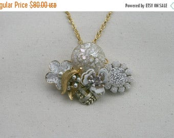 Memorial Day SALE Snow Queen White Gold Vintage Brooch Collage Statement Necklace