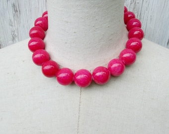 Chunky Hot Pink Beaded necklace, Fuschia Beads Choker, Big Pink 20 mm  Beads