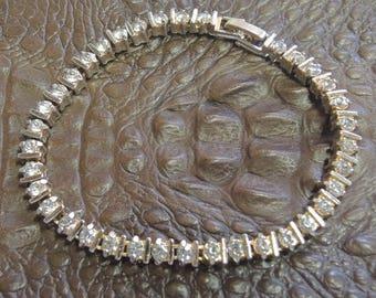 Vintage Rhinestone Tennis Bracelet - Elegant Bracelet -