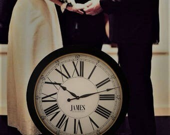 24in WEDDING CLOCK Cambridge Linen Deluxe-Large Wall Clock-Antique Style-Family Heirloom-FREE Inscription
