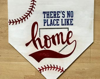 There's No Place Like Home Baseball Home Plate 15x15 wooden sign