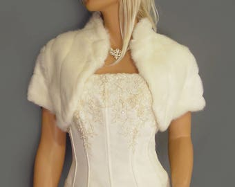 Faux fur bolero shrug jacket short sleeve with collar in Mink bridal wedding stole coat wrap, fur shrug FBA101 AVL in ivory & 2 other colors