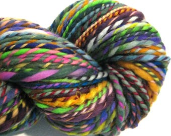 Handspun Yarn Waste Not Want Not 156 yards rainbow yarn knitting supplies crochet supplies waldorf doll hair art yarn weaving supplies