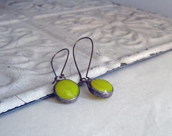 Yellow Opaque Glass Earrings Long Arched Earwires Faceted Stained Glass Jewelry