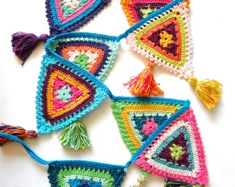 Crochet Garland, multicolor, with tassels