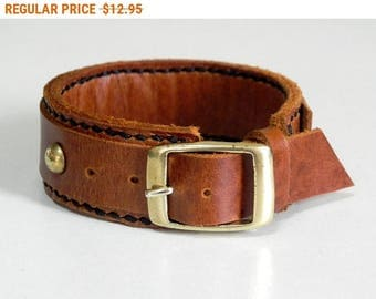 Tan Leather Bracelet Leather Cuff Leather Bangle with Buckle Solid Brass Clasp
