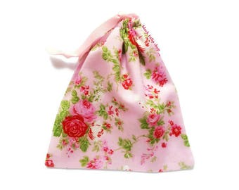 Pink Rose Pouch Classic Shabby Drawstring Bag Cottage Chic Pastel Retro Makeup Toiletries Floral Gift Bag