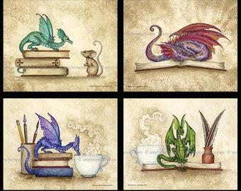SPECIAL 5x7 dragons and books SET by Amy Brown