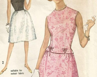 ChristmasinJuly Vintage 60s Simplicity 5153 Misses Two Piece Dress with Sleeveless Top and Dirndl Skirt Sewing Pattern Size 14 Bust 34